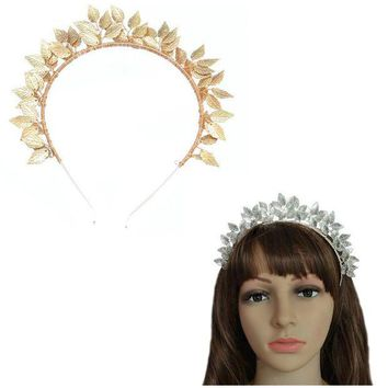 VONG2W Luxury Wedding Hair Accessories Handmade Leaves Baroque Queen Gold Color Crown Tiara Headband Hairpiece Bridal HeadPiece Jewelry