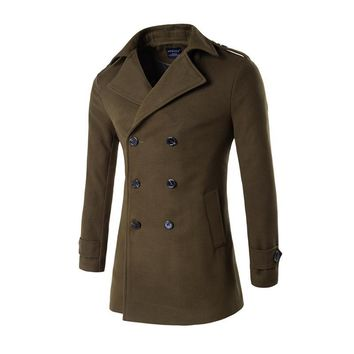Winter new high quality mens clothing overcoat double-breasted General rules coats classic outwear Wool Blends jacket coat male