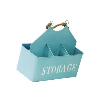 Metal Storage Basket With Rope Handle And 4 Shelves - Sky Blue