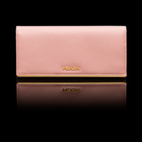 Prada Saffiano Leather Wallet in Orchid Pink