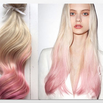 Pastel Ombre Hair Extensions, Platinum Blonde and Pastel Pink Hair, Blonde Hair Extensions, Pink Hair, Clip In Human Hair Extensions, 22""
