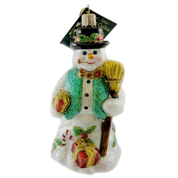 Old World Christmas Merry Mr Snow Glass Ornament