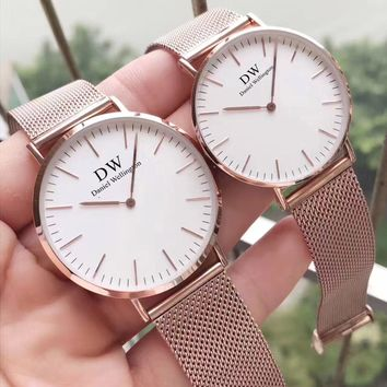 DW Daniel Wellington Classic minimalist gold watch and net belt F-PS-XSDZBSH Rose gold + white face