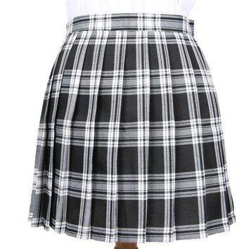 Winter Wool Umbrella A Line Vintage Plaid Skirt Pleated Tartan Skirts Women's Woolen Kilt Student Skirts