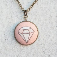 Pink Geometric Diamond Fabric Covered Button Necklace