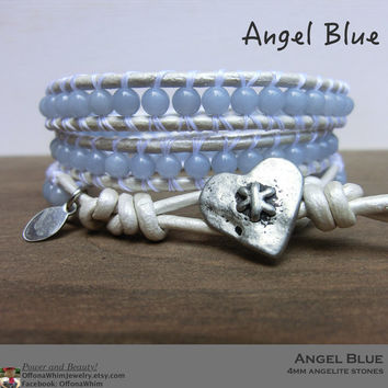 Angel Blue Handmade Leather Wrap Japanese Powerstone Layer Bracelet made by Off on a Whim in Japan - blue Angelite precious stone jewellry