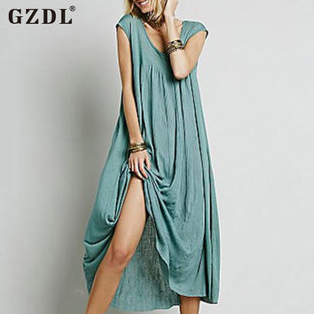 GZDL Lady Women Sleeveless V Neck Casual Loose Oversized Baggy Boho A-Line Summer Long Maxi Shirt Dress Vestidos CL2850