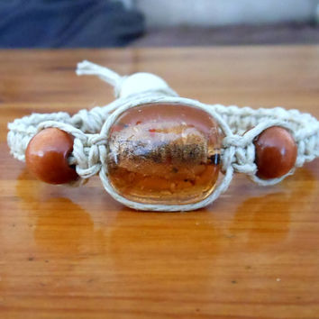 Hemp Bracelet with Amber Glass Bead