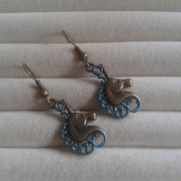 Closing sale - Fantasy metallic blue unicorn  bronze charm  dangle earrings