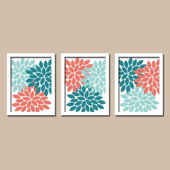 Items Similar To Teal Purple Abstract Flowers Wall Decor: Teal Coral Aqua Colors Flower Burst From TRM Design