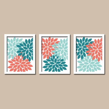 Teal Coral Aqua Colors Flower Burst Dahlia Artwork Set of 3 Trio Prints Decor Abstract Bedroom WALL ART Bathroom