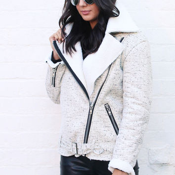Oversized Aviator Jacket with Shearling Lining in Cream & Black