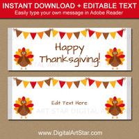 Thanksgiving Favors - Thanksgiving Party Favors - PRINTABLE Thanksgiving Candy Wrappers - EDITABLE Thanksgiving Chocolate Bar Labels T2