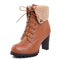 Buy Hot Sale Warm Wool Lace-up PU Short Boots Yellow with cheapest price|wholesale-dress.net