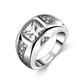New Fashion Unisex Ring Round Broad Design CZ Crystal 925 Sterling Silver
