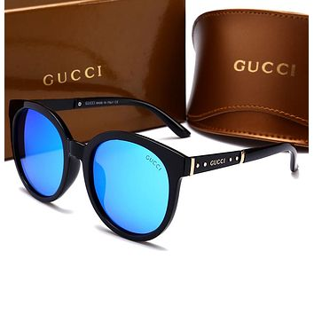 "Hot Sale ""GUCCI"" Popular Women Men Summer Sun Shades Eyeglasses Glasses Sunglasses Black Blue I-HWYMSH-YJ"
