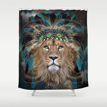 Fight For What You Love (Chief of Dreams: Lion) Tribe Series Shower Curtain by soaring anchor designs ⚓ | Society6