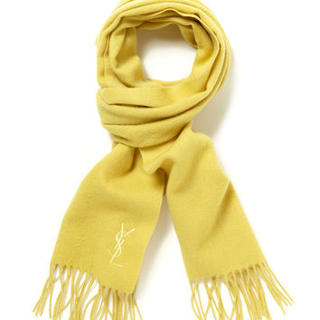 Yves Saint Laurent Men's Wool Embroidered Logo Fringed Scarf - Yellow