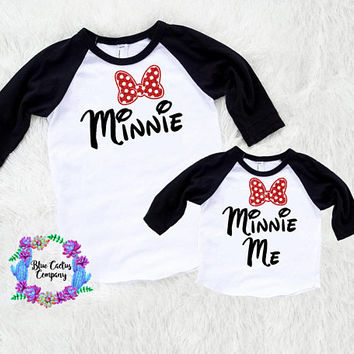 Disney Shirt set - Minnie and Minnie me- FREE shipping - mommy and me set - adult child set - baby/toddler - minnie mouse shirt - disney