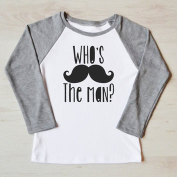 Hipster Boy Shirt - Modern Kids Apparel. Mustache Graphic Tee. Toddler T-shirt. Long Sleeve Children Clothes. 1 to 8 Years Size
