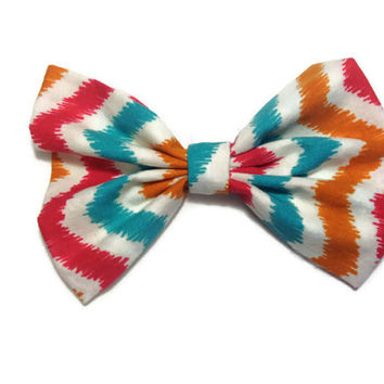 Chevron fabric hair bow for teens or little girls - pin up hair bow - hair clip - sock bun hair bow - messy bun hair bow