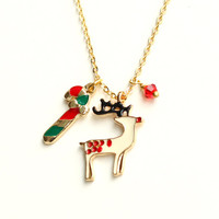 Christmas necklace, reindeer necklace gold deer necklace santa claus snow man necklace christmas motif holiday special christmas gift