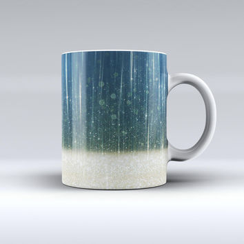 The Scratched Blue and Gold Showers ink-Fuzed Ceramic Coffee Mug