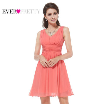 Women Clothing HE03909 Ever Pretty 2017 Elegant Sleeveless Red Blue Coral Black Purple V-neck Short Party Cocktail Dress
