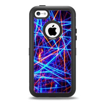 The Neon Glowing Strobe Lights Apple iPhone 5c Otterbox Defender Case Skin Set