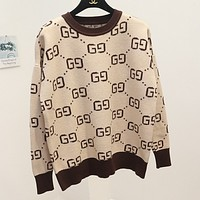 GUCCI new spring and autumn wild g letter sweater crew neck sweater women Beige