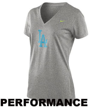 Nike L.A. Dodgers Women's MLB Legend V-Neck Performance T-Shirt - Ash