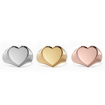 14K Gold Plated Heart Shaped Signet Cocktail Ring- Three Options Available
