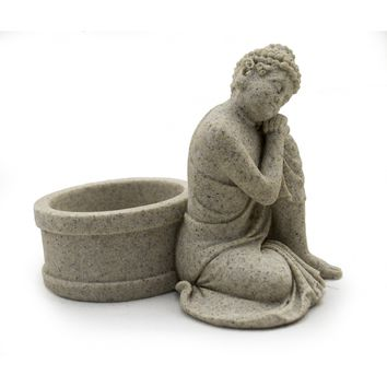 Sandstone Buddha Tealight Candle Holder Statue