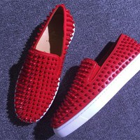 KUYOU Christian Louboutin Slip On CL fashion casual shoes red sole for men and women jeans 90526