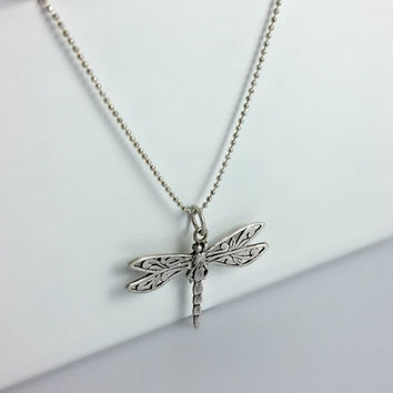 Silver Dragonfly Necklace - Pendant Openwork - Sterling Chain - Dragon Fly Pendant - Dragonfly Jewelry