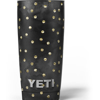 Black Watercolor and Gold Glimmer Polka Dots Yeti Rambler Skin Kit