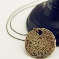 "JA139 ""Love Beyond the Moon & Stars"" Pendant Necklace, Love Romantic Necklace"