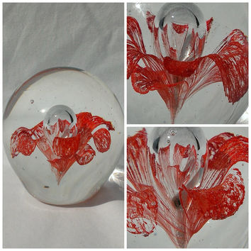 Bright Red Flower Paperweight 1960s Lacy Delicate Blown Glass Silver Controlled Bubble Mid Century Mod Office Desk Decor Botanical Gift