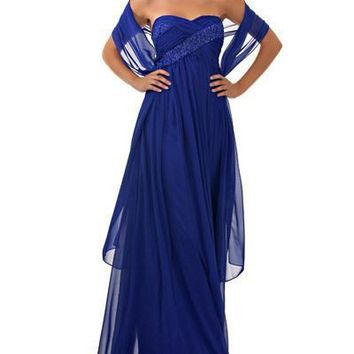 JS Collections - 861627X Strapless Beaded Ruched Empire Chiffon Dress
