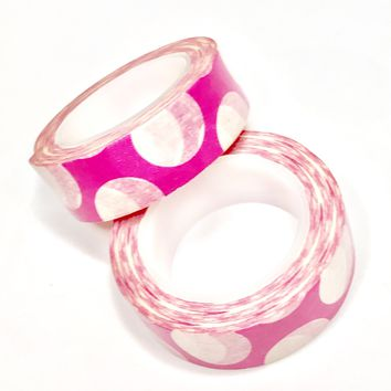 Hot pink JUMBO polka dot 15mm washi tape / 10M