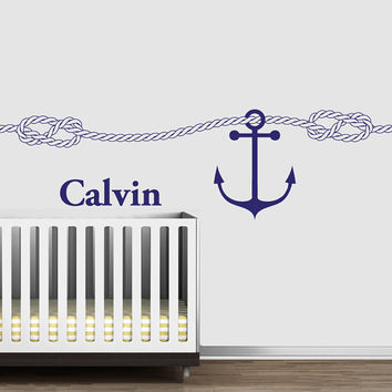 Wall Decal Vinyl Sticker Decals Art Decor Design Custom Name Baby Letter Anchor Rope Nautical Salior Nirsery Kids Rope Bedroom(r1202)