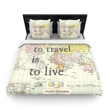 """Catherine Holcombe """"To Travel Is To Live"""" Color Map Fleece Duvet Cover"""