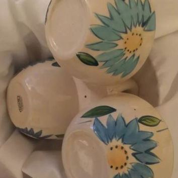 Home 3 Compartment White Ceramic Floral Bowl With Handle Blue and Yellow Flower