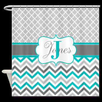 Teal Quatrefoil Chevron Monogram Fabric Shower Curtain - YOU CHOOSE COLORS