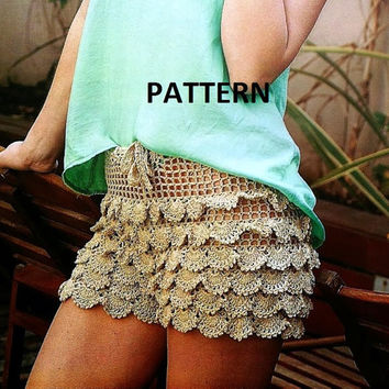 PATTERN Short sexy crochet shorts for summer beach lace