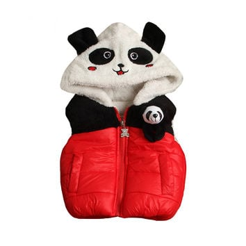 Warm Winter Cute Panda Thicken Baby Cotton Vest Outwear Infant Toddler Vest Jacket Boys Girls Character Clothes Coats