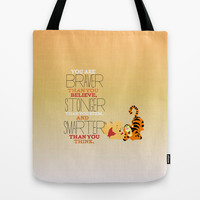 stronger, braver, smarter, winnie the pooh Tote Bag by Studiomarshallarts