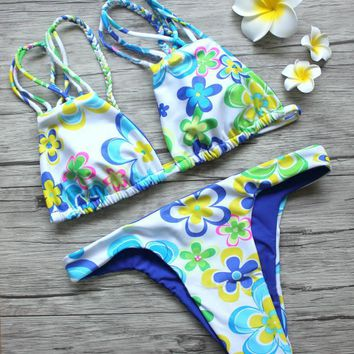 Bikini  Strappy Swimsuit Blue Print Floral  Bathing Swimsuits