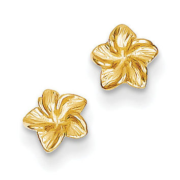 14k Plumeria Flower Post Earrings TC623