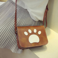 Women Bear's-paw Print Shoulder Bag Leather Messenger Hobo Bag Satchel Tote Purse Handbag Gift